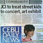 """JCI to treat street kids to concert, art exhibit."" Cebu Daily News. Vol. 11, No. 652. Cebu City. 30 Dec. 2008: Community, 23."