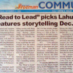 """Read to Lead"" picks Lahug, features storytelling Dec. 6. "" The Freeman. Vol. 43, No. 139. Cebu City. 04 December 2008: Community, 23."