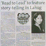 """'Read to Lead' to feature story-telling in Lahug."" Cebu Gold Star Daily. Vol. 1, No. 67. Cebu City. 05 December 2008: Corp.Board, 5."