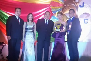 The President-elect being honored as JCI Visayas' Most Outstanding Member for 2014